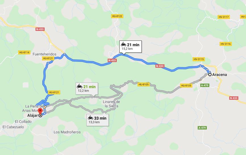 Viaja en moto desde Aracena a Alájar