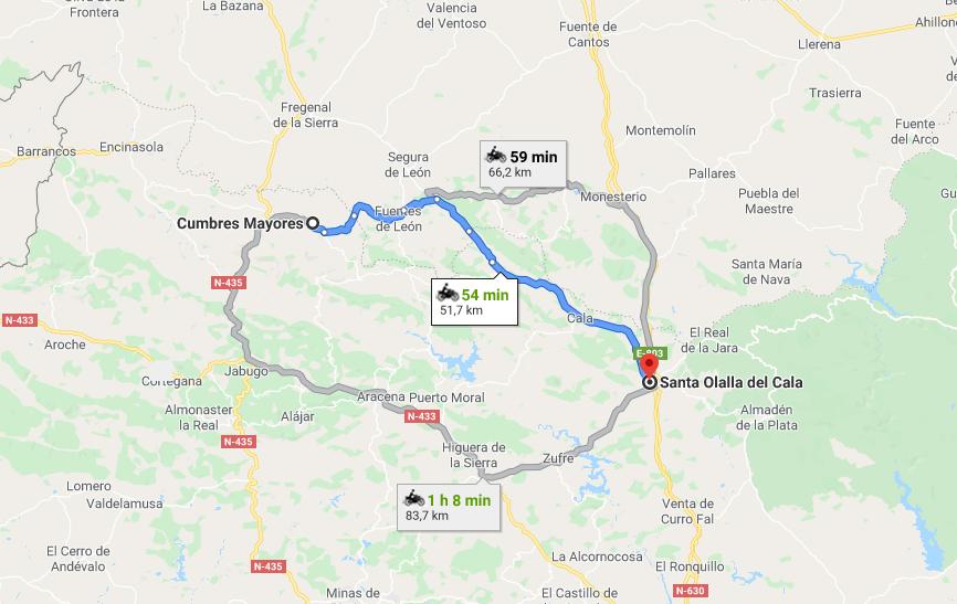 Ruta motera de Cumbres a Santa Olalla