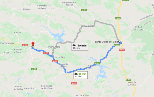 En moto desde Santa Olalla hasta Aracena